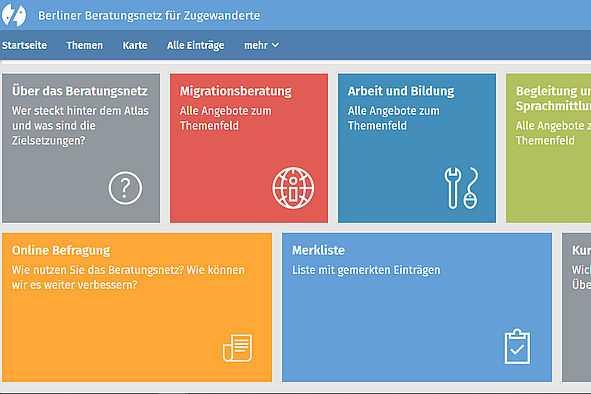 Bildschirmfoto des Berliner Beratungsnetz für Zugewanderte