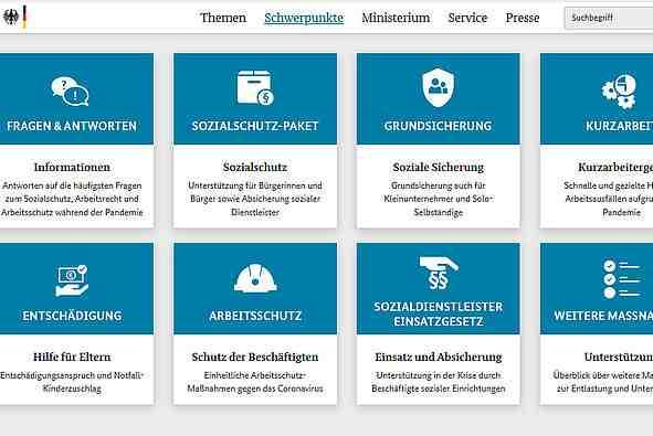 Bildschirmfoto BMAS-Website